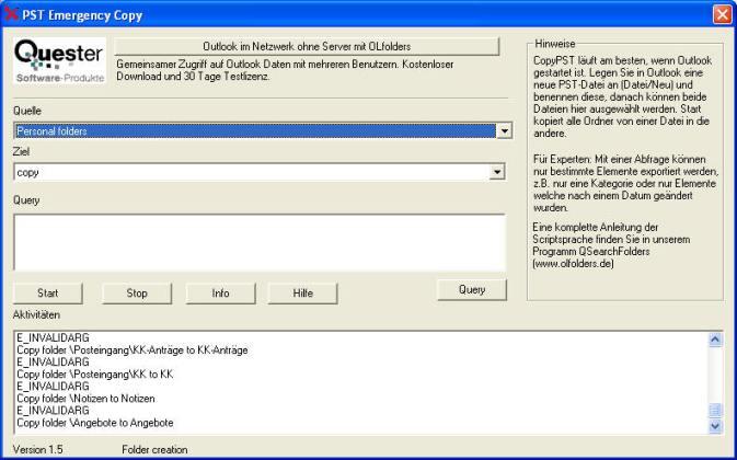 Screenshot für CopyPST