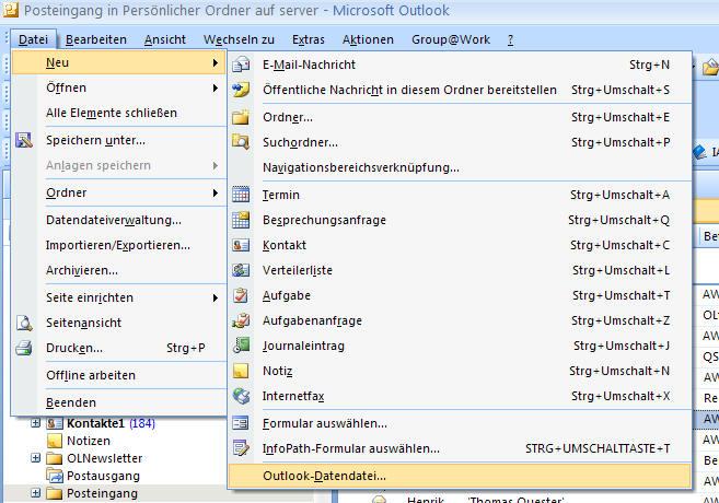 Screenshot vom Programm: CopyPST